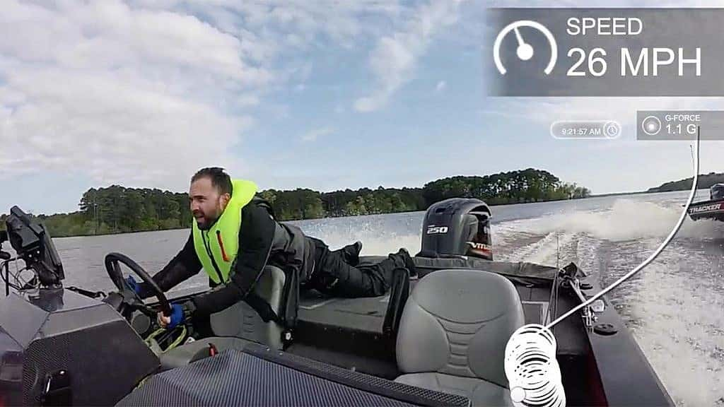 Angler falling out of runaway bass boat